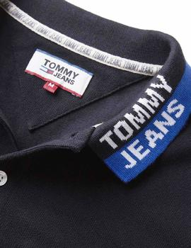 Polo Tommy Jeans Branded Collar negro