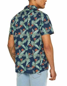 Camisa Esprit estampado tropical azul
